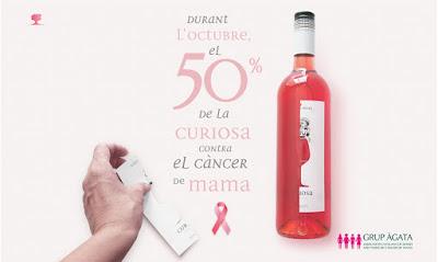 Esguard de Dona - Albet i Noya  per cada ampolla de vi rosat Curiosa venuda al celler o per internet es detinarà el 50 % de l'import a la lluita contra el càncer de mama, en col·laboració amb el Grup Àgata