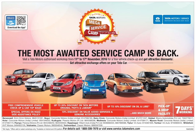 The most awaited Tata service camp is back | November 2016 discount offers