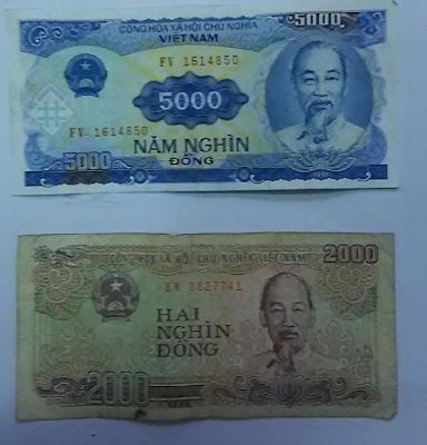 5千ドン(5.000vnd)と2千ドン(2.000vnd) ベトナムの紙幣