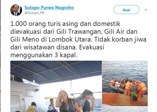 Ratusan Wisatawan, Di Evakuasi Dari Gili Trawangan