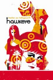 Cover of Hawkeye Volume 3: L.A. Woman, featuring an orange and yellow honeycomb montage with a young white woman wearing sunglasses at its heart. She's flanked by another woman wearing a mask and a white man wearing a trenchcoat. Rare black notes accent the image here and there.