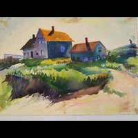 Watercolor image of Cape Cod house and dunes by Francis Quirk