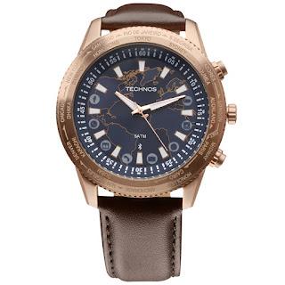 57566b1a6bf Mais esportivo é o modelo 753AB 8A que apresenta a caixa prateada e a  pulseira em silicone azul