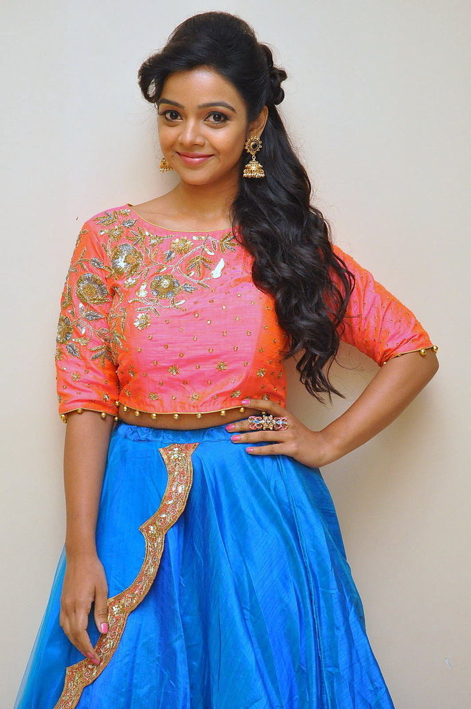 Telugu Actress Nitya Shetty At Kalamandir Anniversary In Blue Dress