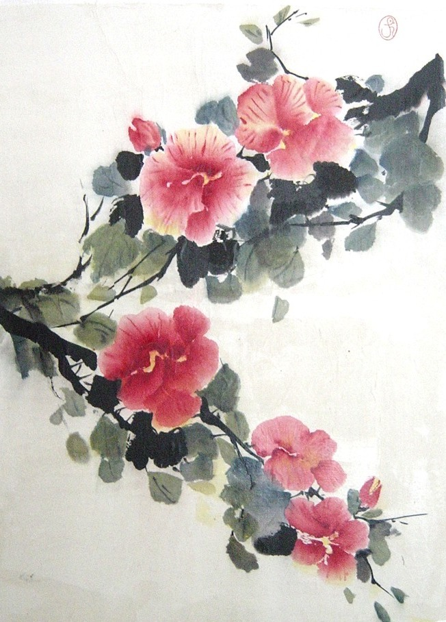 shida rad s canvas flowers in watercolor chinese brush paintings