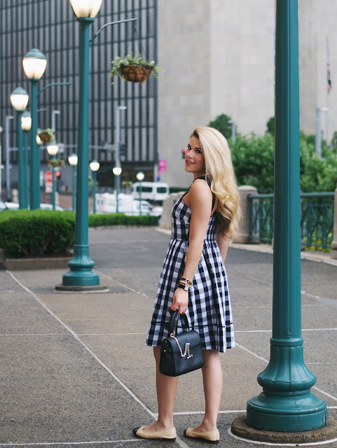 Kate Spade Gingham Dress with Luana Italy handbag and Chanel ballet flats