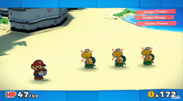 Paper Mario: Color Splash Koopa Troopa battle system screen beach