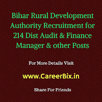 Bihar Rural Development Authority Recruitment for 214 Dist Audit & Finance Manager, Account & Audit Asst Vacancies