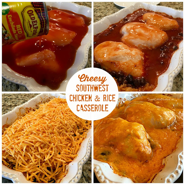... beans, chili powder, chicken broth, red enchilada sauce and shredded