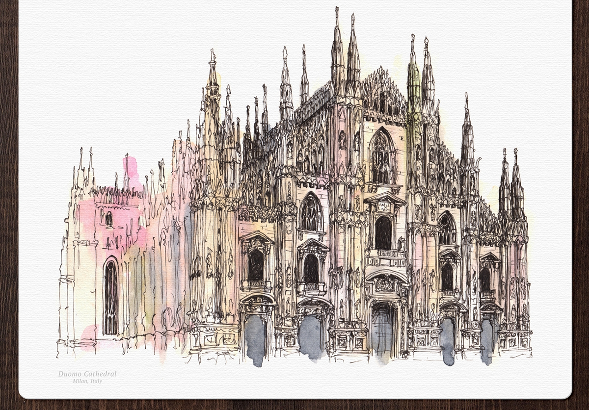 11-Il-Duomo-Cathedral-Italy-Mucahit-Gayiran-Architectural-Landmarks-Watercolor-Paintings-www-designstack-co