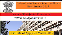 Subordinate Service Selection Board Recruitment 2017– 89 Junior Pharmacist