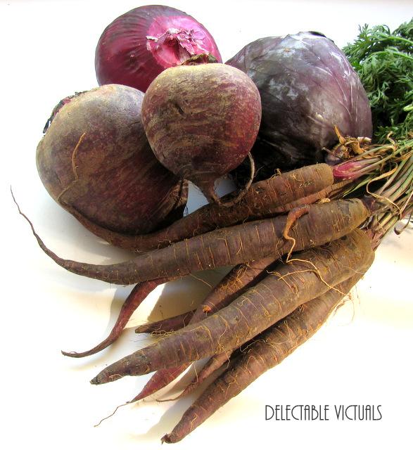 Purple Pleasures: Purple carrots, Purple Beets, Purple Cabbage, Purple Onion Relish