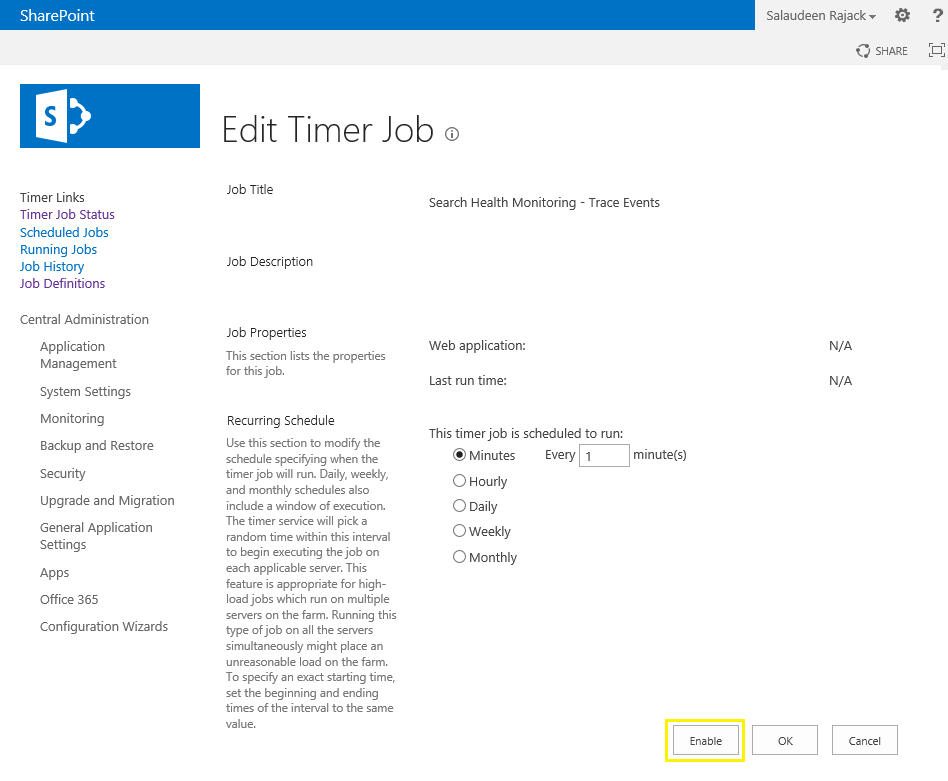 sharepoint search health monitoring - trace events timer job