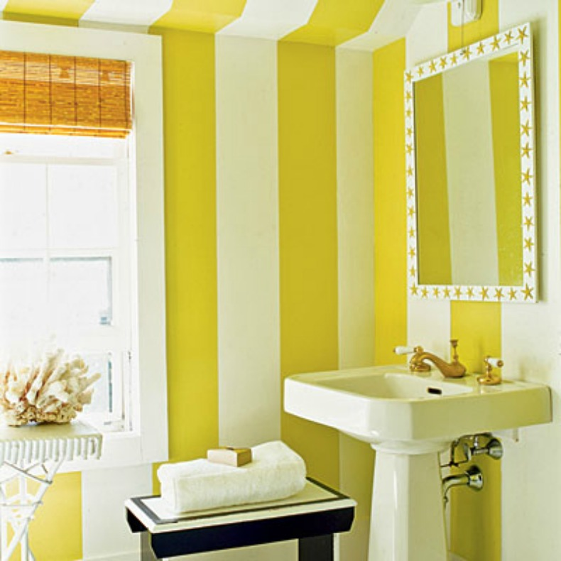 Bright yellow and white coastal stripe in bathroom,