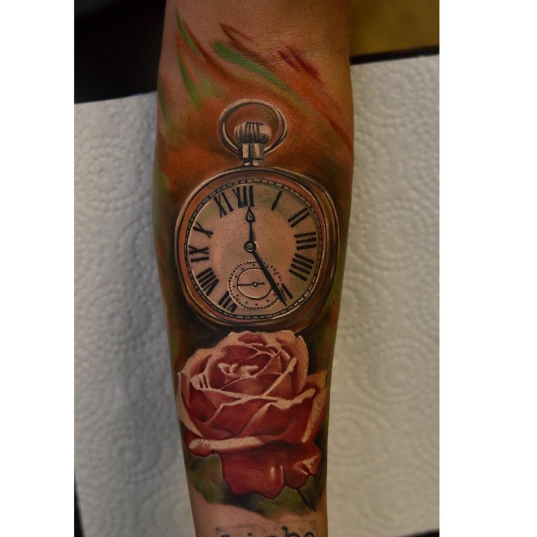 pocket watch and red rose tattoo tattoo geek   ideas for