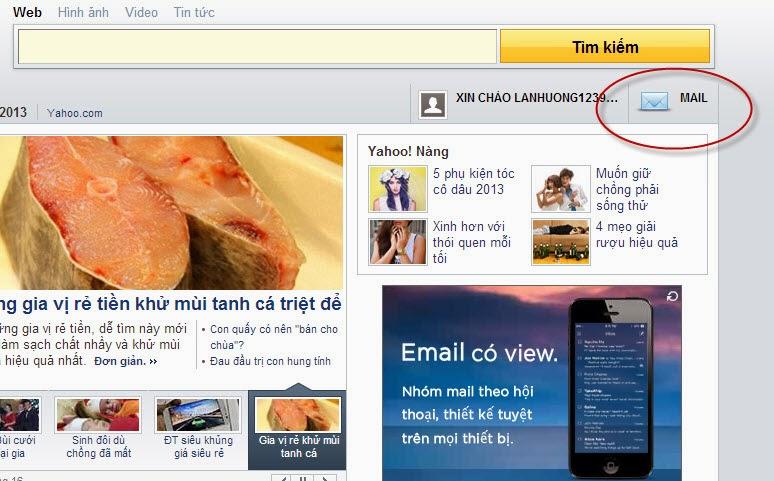 truy cập yahoo mail sau khi đăng ký