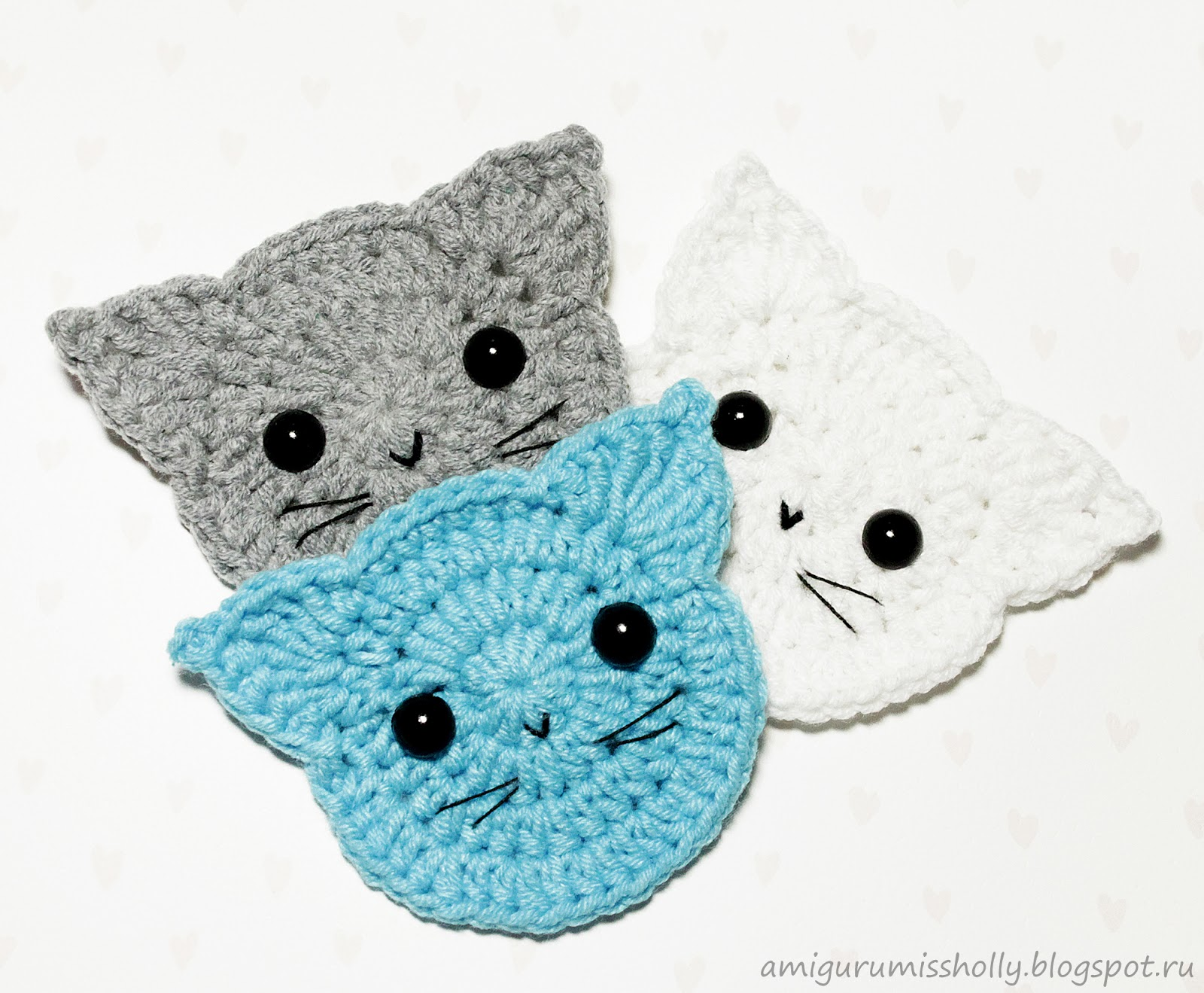 Crochet Cats Applique Free Pattern Amigurumi Free