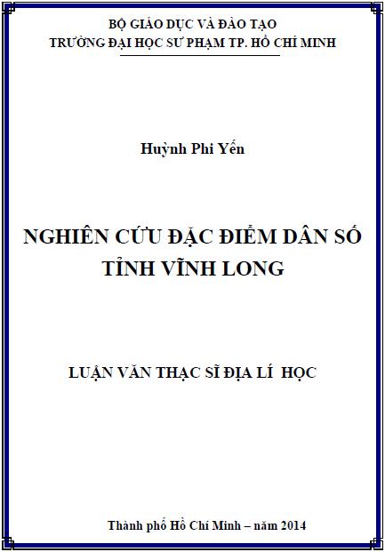 Nghiên cứu đặc điểm dân số tỉnh Vĩnh Long