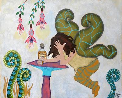 Fairy Nightcap Original Painting by Jeanne Fry Art