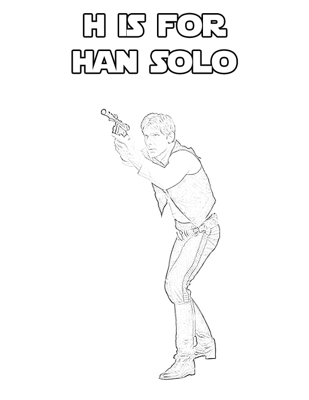 Star wars alphabet coloring page h is for han solo the for Han solo coloring pages