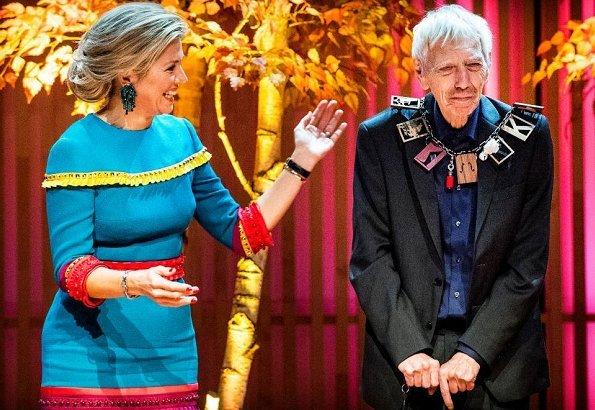 Queen Maxima wore Claes Iversen colorfull dress from Couture Spring/Summer 2017 collection. Reinbert de Leeuw
