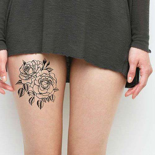 rose tattoo thigh gül dövmesi bacak