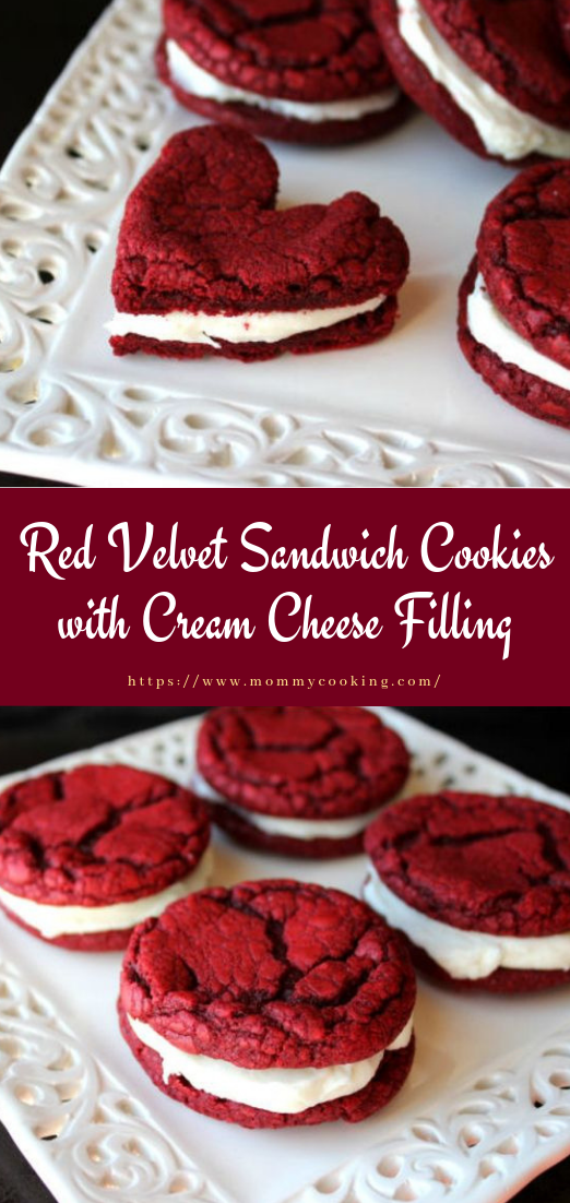 Red Velvet Sandwich Cookies with Cream Cheese Filling #recipe #redvelvet