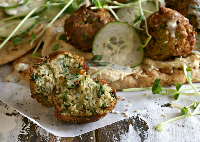Vegetarian falafel balls made with chickpeas and cauliflower.