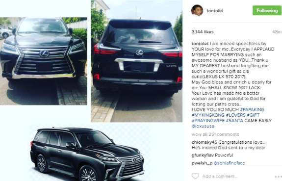 Tonto Dikeh left speechless after her husband buys her 2017 Lexus SUV