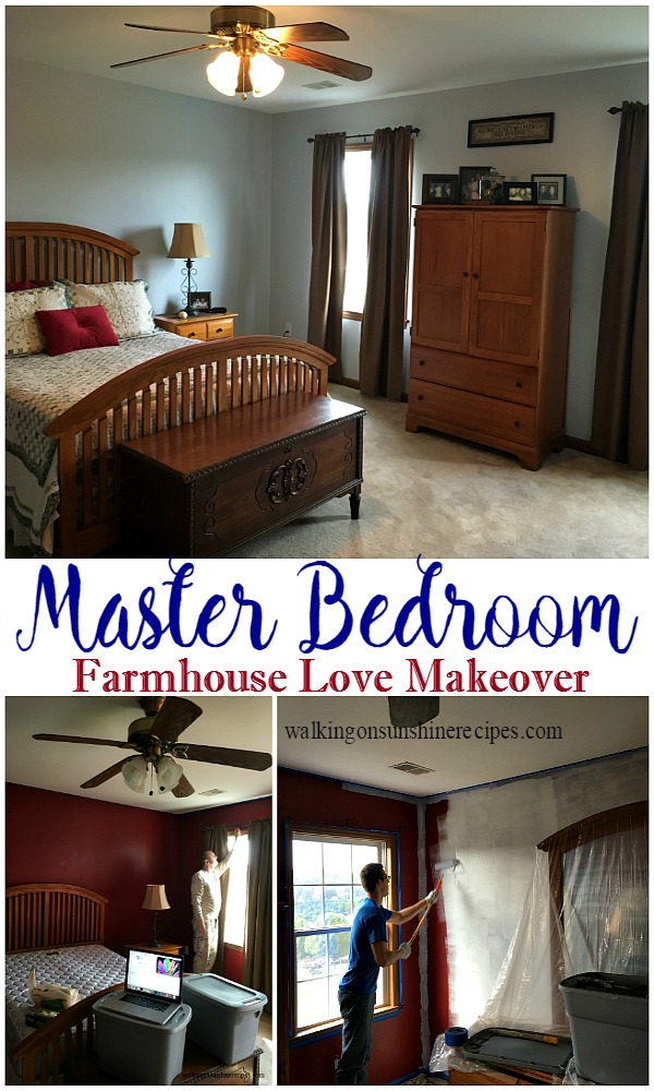 Come see our master bedroom makeover with accents of my love for farmhouse decor featured on Walking on Sunshine Recipes.