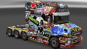 Scania T Sticker Bomb skin mod by Mole