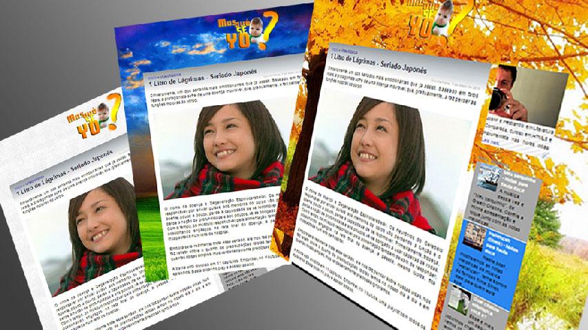 Na imagem, há três prints de tela de uma postagem deste blog. Em cada print, é mostrado uma imagem de fundo (background) diferente