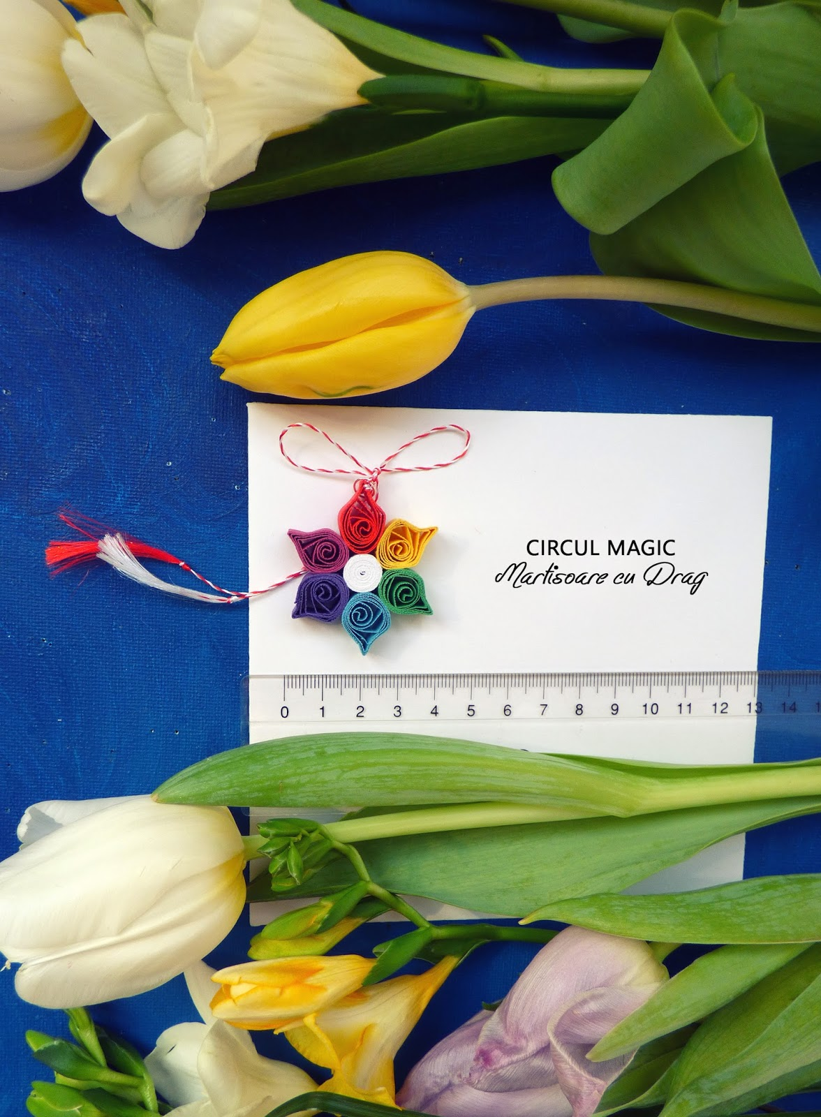 Martisoare Quilling 2017 Floare de Curcubeu Circul Magic