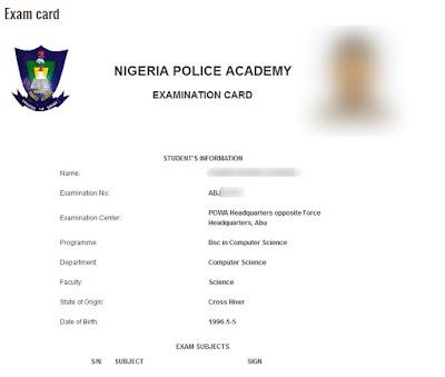 NPA Exam Card Printing Important Notice