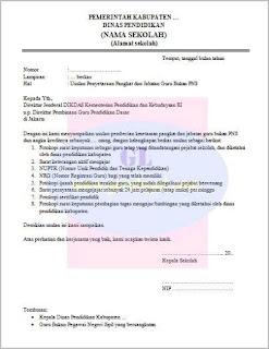 contoh atau format surat usulan inpassing (penyetaraan guru bukan PNS)