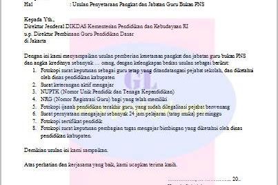 Surat Usulan Penyetaraan Guru Bukan PNS (Inpassing)