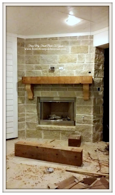 Suburban-White- Farmhouse-Stonework-Outdoor-Fireplace-From My Front Porch To Yours