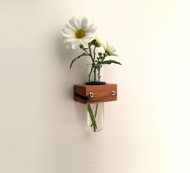 Wall Mount Test Tube Wall Vase Modern Wood Small Wall Flower Vase