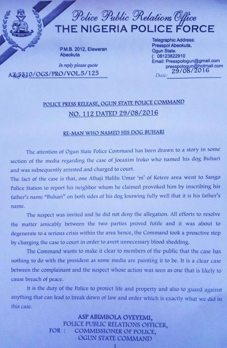 """Ogun State police releases statement on man who named his dog """"Buhari"""""""