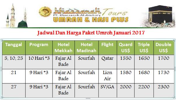 Harga dan Jadwal Paket umroh Januari 2017