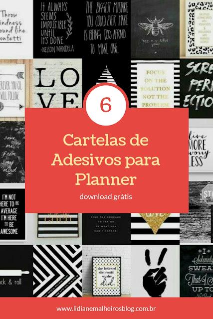 6 cartelas de adesivos para planner