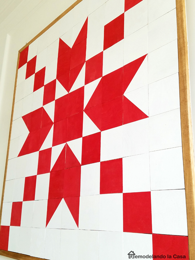 Wall Art wooden quilt - star design - snowflake design