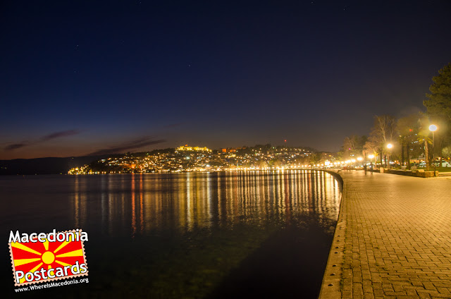 Ohrid city at night, Macedonia