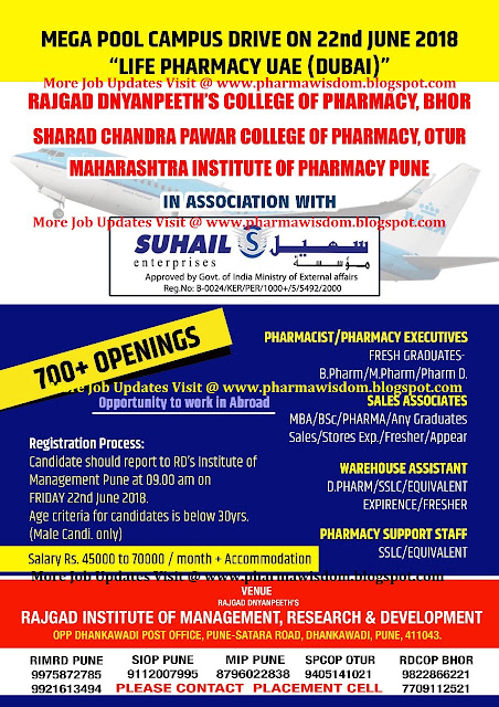 LIFE PHARMACY UAE (DUBAI) - Mega Pool Campus Drive for B.Pharm / D.Pharm / M.Pharm / Pharm.D / MBA / B.Sc / Any Degree Freshers (700+ Openings) on 22nd June, 2018 @ PUNE