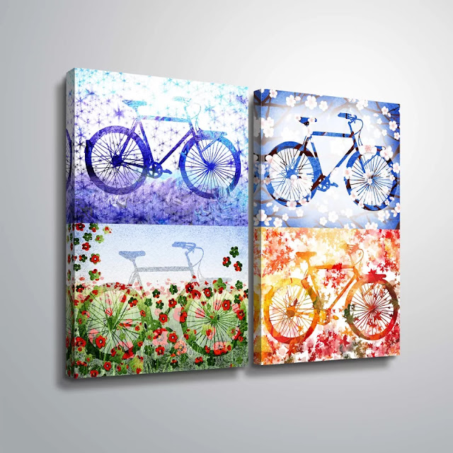 Bicycles Watercolor Silhouettes by artist illustrator Irina Sztukowski
