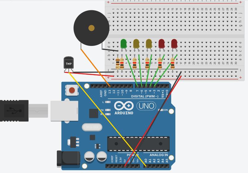 雲林SONG: Tinkercad Circuits:溫度警報器(Temperature alarm)