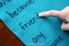 Tracing on felt is an easy way to practice sight words using a multisensory approach