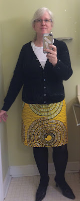 #ootd Bright yellow Ankara print skirt in circle pattern print