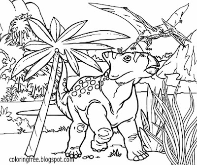 Primitive monster cartoon TV Science Fiction drawings fun to color early Jurassic dinosaurs for kids