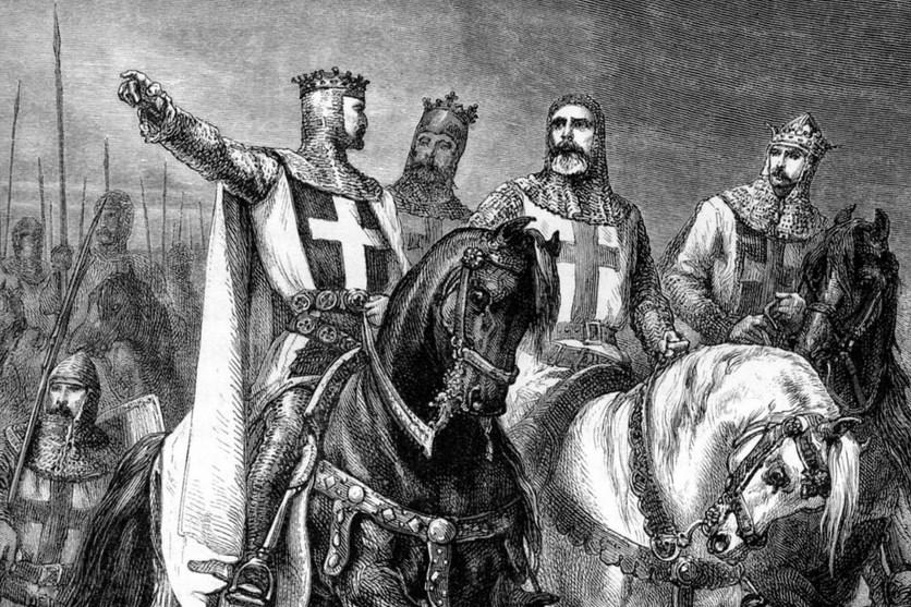Raja Inggris menunggang Kuda pada perang Salib di Asia Barat